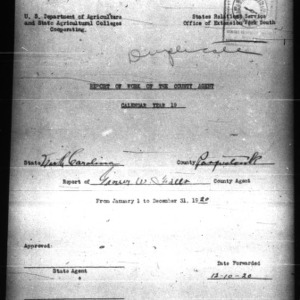 Report of Work of the County Agents, Pasquotank County, NC