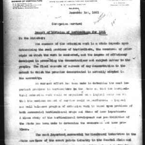 Report of Division of Horticulture for 1921