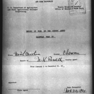 Report of the Country Agent, Chowan County, NC