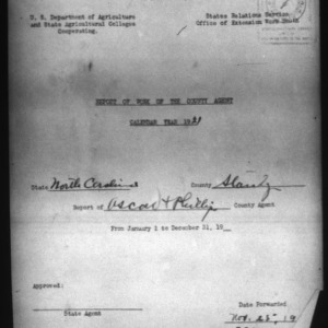 Report of the Country Agent, Stanly County, NC