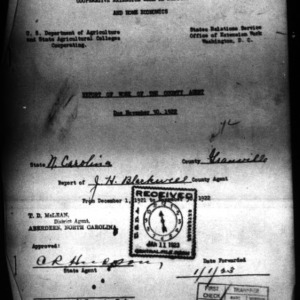 Report of Work of the County Agent, Granville County, NC