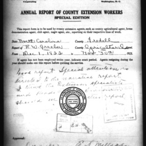 Annual Report of County Extension Workers, Iredell County, NC