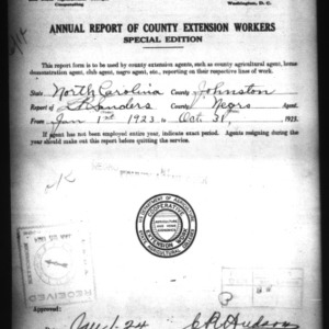 Annual Report of County Extension Workers, Johnston County, NC