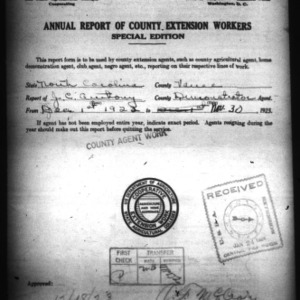 Annual Report of County Demonstration Workers, Vance County, NC