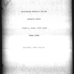 Agricultural Extension Service Narrative Report, Burke County, NC