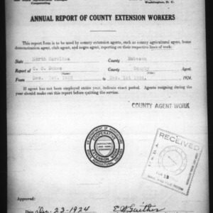 Annual Report of County Extension Workers, Robeson County, NC