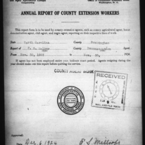Annual Report of County Demonstration Workers, Rockingham County, NC