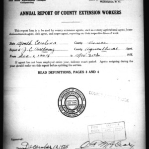 Annual Report of County Agricultural Extension Workers, Vance County, NC
