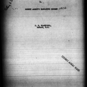 County Agent's Narrative Report, Granville County, NC