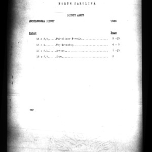 County Agent Work Report, Mecklenburg County, NC