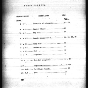 County Agent Work Report, Stanly County, NC
