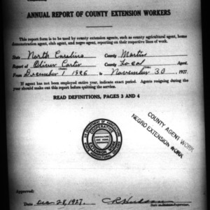Annual Report of County Extension Workers, African American, Martin County, NC