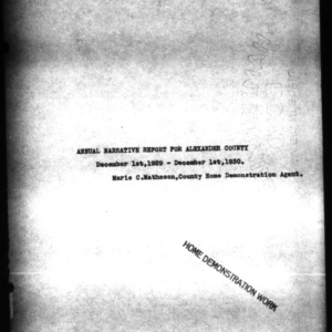 Annual Narrative Report for Alexander County, NC