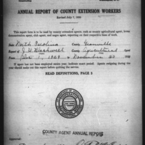 Annual Report of County Extension Workers, Granville County, NC