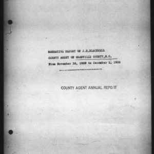 Narrative Report of County Agent of Granville County, N.C.