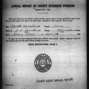 Annual Report of County Extension Workers, Vance County, NC