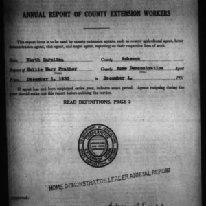 Annual Report of County Home Demonstration Workers, Robeson County, NC