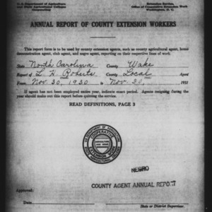 Annual Report of County Extension Workers, Negro County Agent Annual Report, Wake County, NC