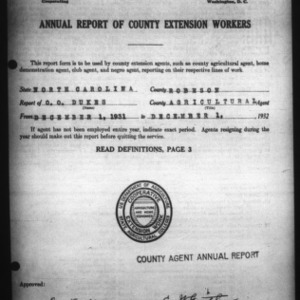 Annual Report of County Agricultural Extension Workers, Robeson County, NC