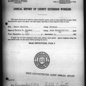 Annual Report of County Home Demonstration Workers, Presumed White, Robeson County, NC