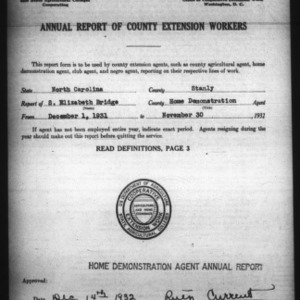 Annual Report of County Extension Workers, Stanly County, NC