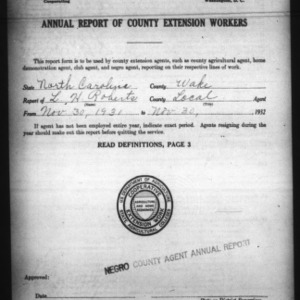 Annual Report of County Extension Workers, African American, Wake County, NC