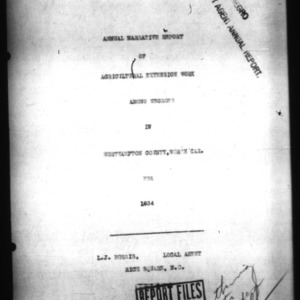 Annual Narrative Report of Agricultural Extension Work Among Negroes in Northampton County, NC