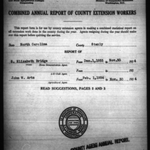 Combined Annual Report of County Extension Workers, Stanly County, NC