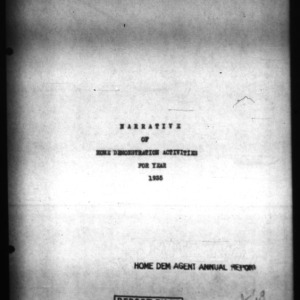 North Carolina Agricultural Extension Service Report of Home Demonstration Work, Pasquotank County, NC