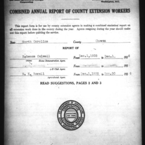Annual Report of County Extension Workers, Chowan County, NC