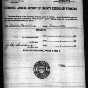 Combined Annual Report of County Extension Workers, Granville County, NC