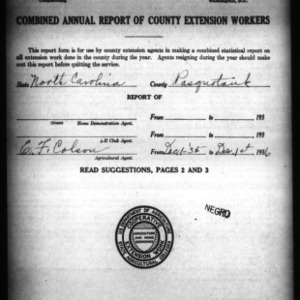 Combined Annual Report of County Extension Workers, Pasquotank County, NC