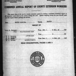 Annual Report of County Extension Workers, Martin County, NC