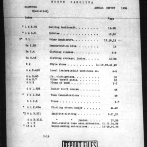 Annual Clothing Report 1938 North Carolina