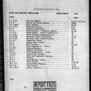 North Carolina Report for Foods and Nutrition, 1938