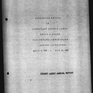 Annual Narrative Report of Assistant County Agent of Pasquotank and Perquimans Counties, NC