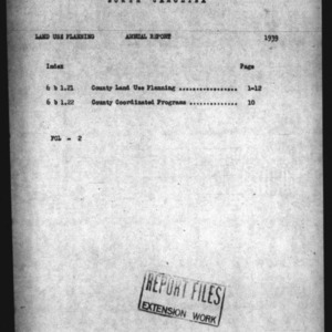 1939 Annual Report for Land Use Planning