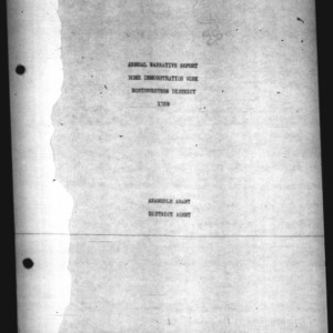 Annual Narrative Report Home Demonstration Work Northwestern District 1939
