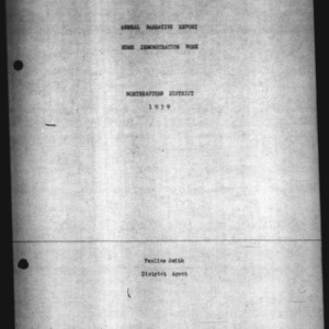 Annual Narrative Report Home Demonstration Work Northeastern District 1939