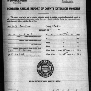 Annual Report of County Extension Workers, Wake County, NC