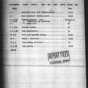 Annual Narrative Report of Negro Home Demonstration Agent of Mecklenburg County, NC