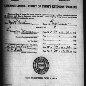 Annual Report of County Extension Workers, Perquimans County, NC