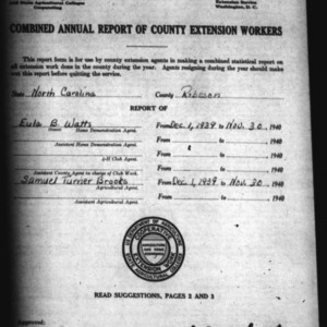 Combined Annual Report of County Extension Workers, African American, Robeson County, NC