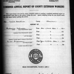 Combined Annual Report of County Extension Workers, Chowan County, NC