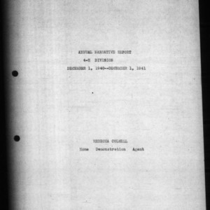 4-H Division Annual Narrative Report, Chowan County, NC, 1941