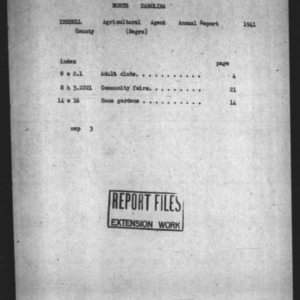 Annual Narrative Report of Negro County Agent in Iredell County, NC