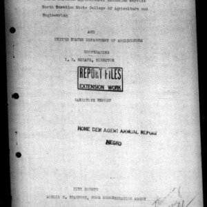 Annual Narrative Report of Negro Home Demonstration Work of Pitt County, NC