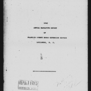Annual Narrative Report of African American Extension Service, Franklin, NC