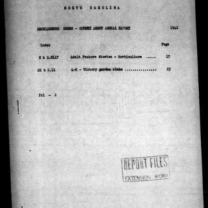 Annual Narrative Report of Mecklenburg County, NC