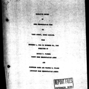 Annual Narrative Report of Home Demonstration Work of Vance County, NC